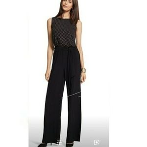 Chicos Gold studded wide leg tie front jumpsuit M